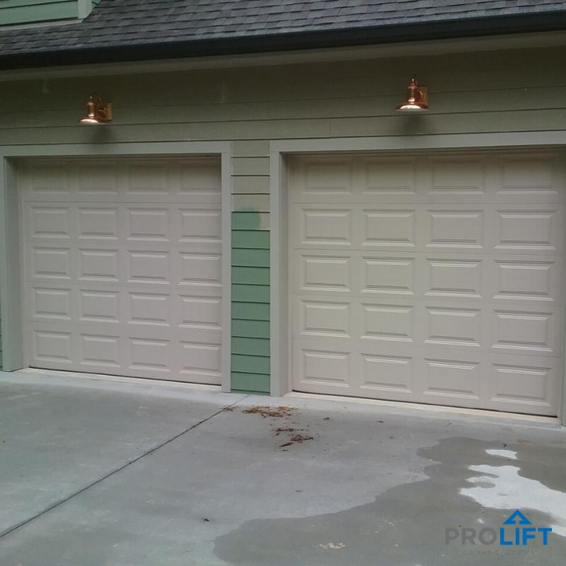 Clopay Steel Garage Doors In Desert Tan With Liftmaster Garage Door Openers In 2020 Garage Door Styles Steel Garage Doors Garage Door Design