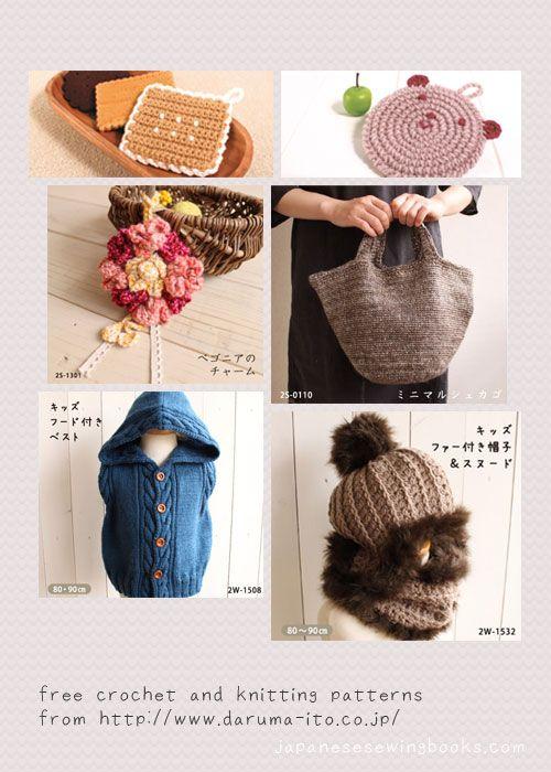 Free Crochet and Knitting Patterns - daruma-ito.co.jp