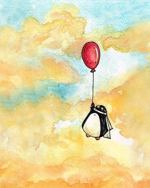 "Penguin and a Red Balloon - 8x10 print. $16.00, via Etsy.  I like what she says about this, ""who says penguins are flightless birds?"""