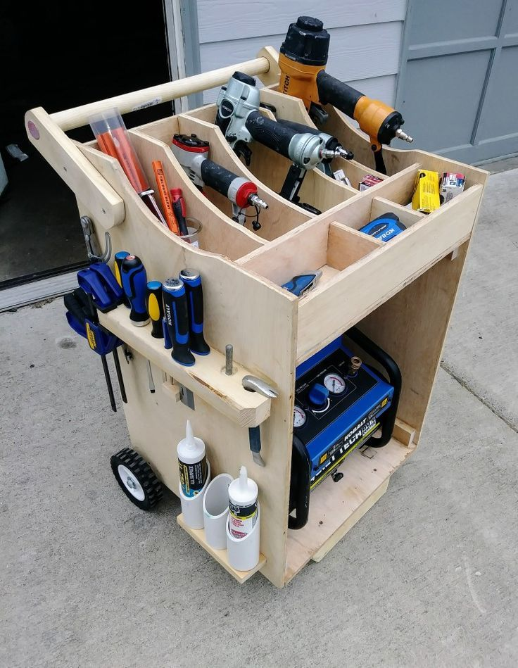 Wood Air compressor car - #Air #car #compressor #Wood #workbench #toolstorage
