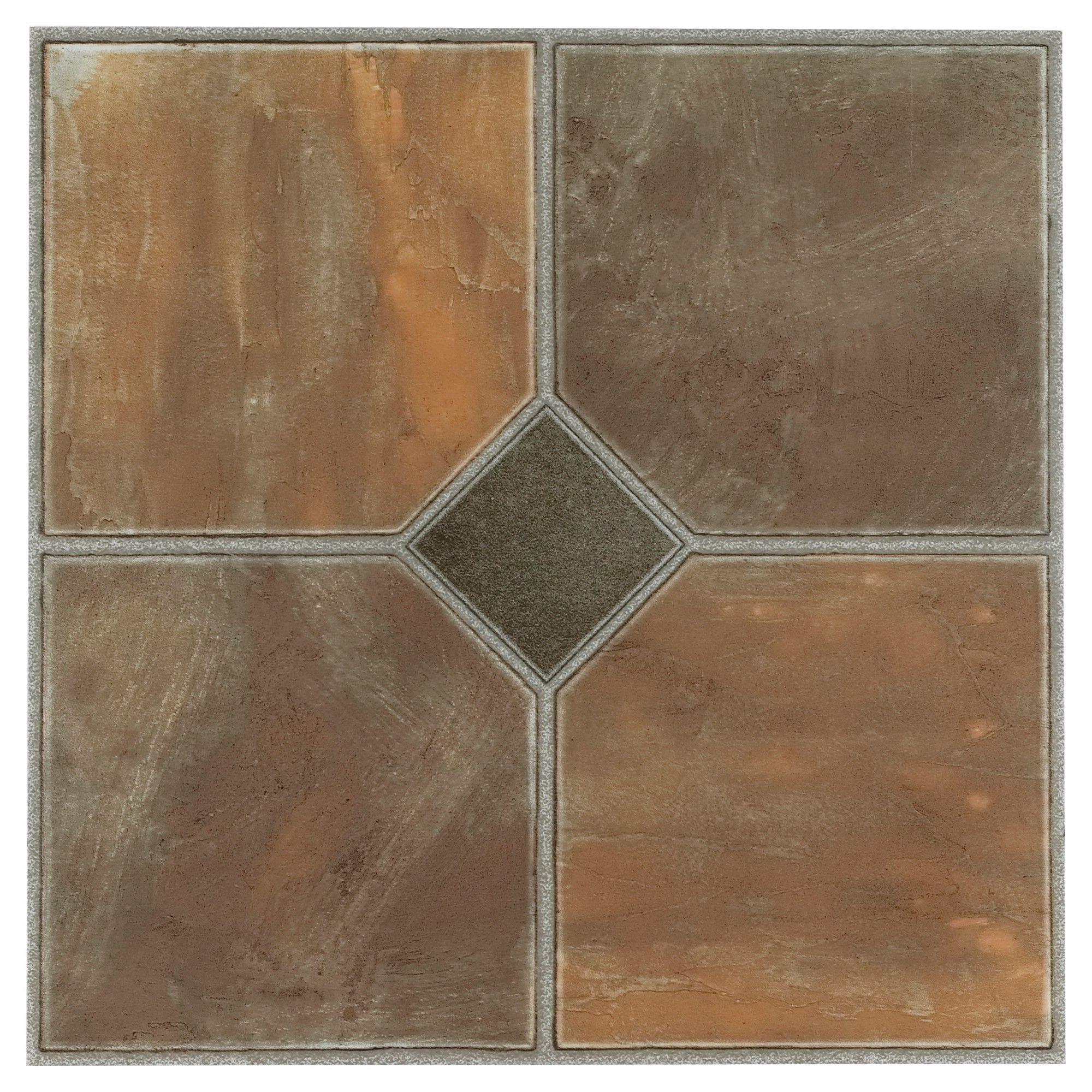 Brown Self Adhesive Vinyl Floor Tile 12x12 Achim Adhesive