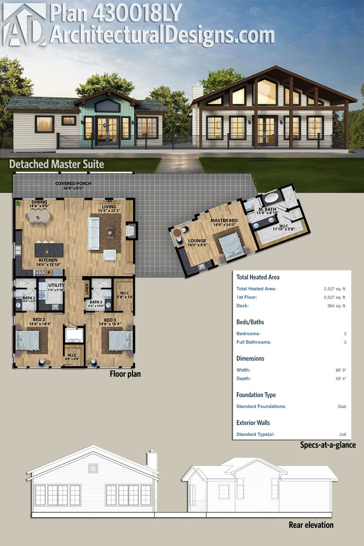 Plan 430018ly Detached Master Suite Bedroom House Plans House Plans Beach House Plans
