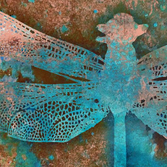 dragonfly art in teal blue, turquoise & green by Copperhand Studio