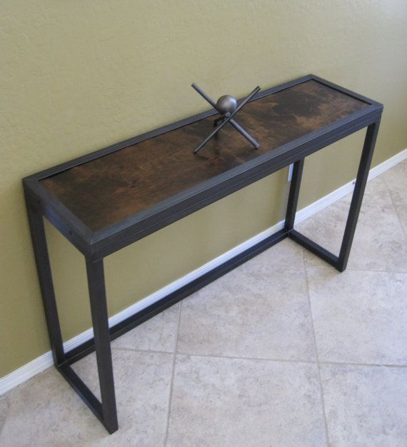 Modern Industrial Metal And Juniper Console Table Sofa Table