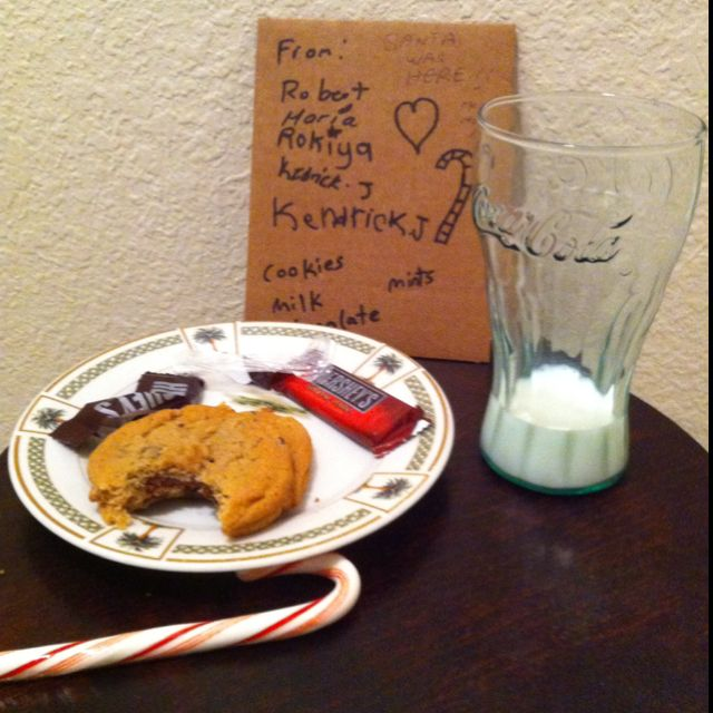 Santa Was Here - Christmas cookies and milk for Santa.