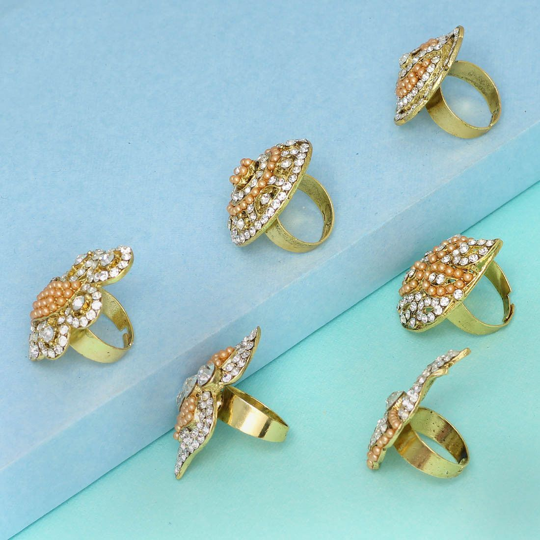 Gold Plated Gold Rhinestone Combo Set of 6 Ring Jewellery buy rings
