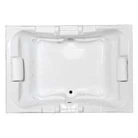 Laurel Mountain Delmont 2 Person White Acrylic Rectangular Drop In  Whirlpool Tub (Common