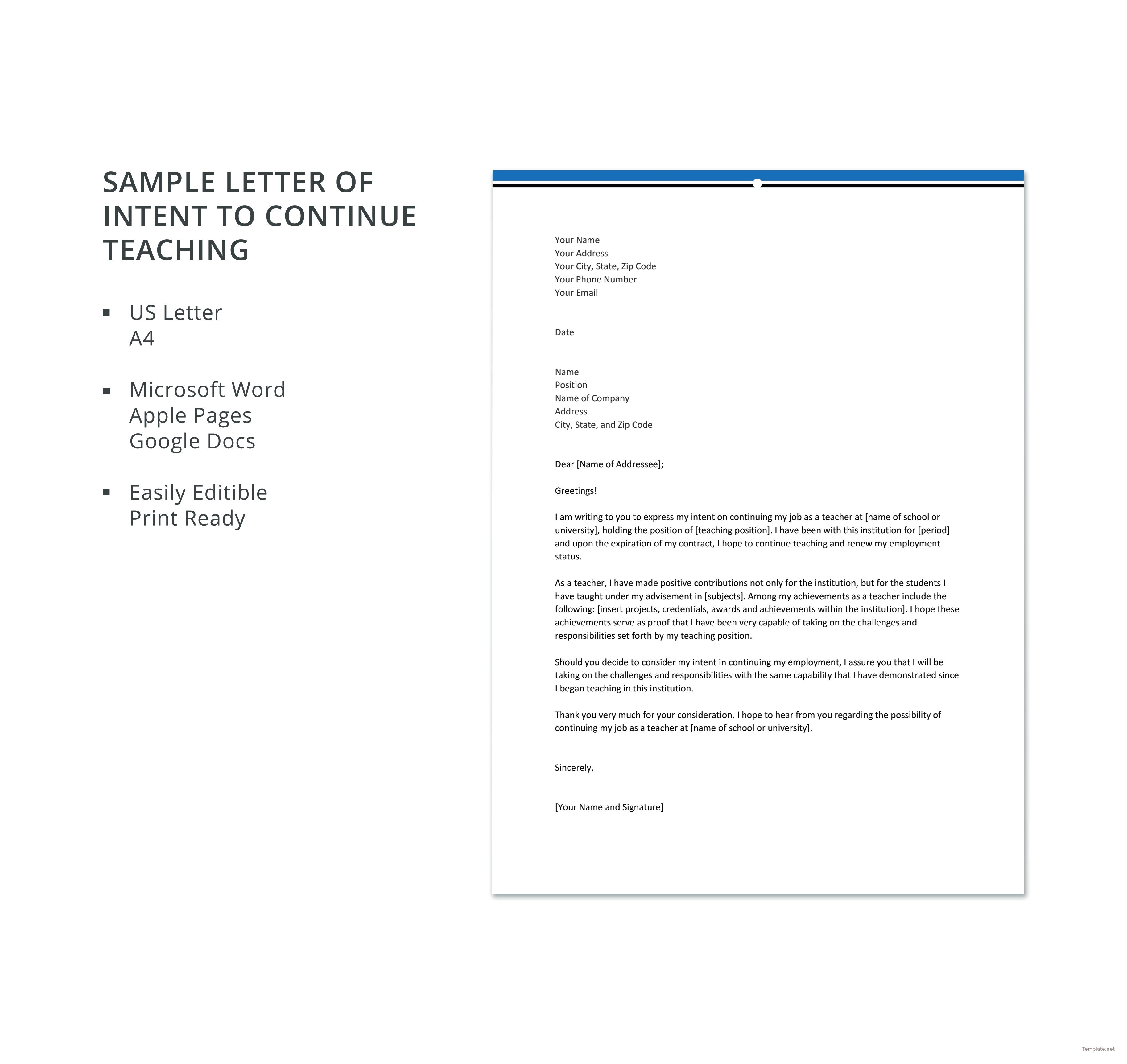 Free Sample Letter Of Intent To Continue Teaching Template