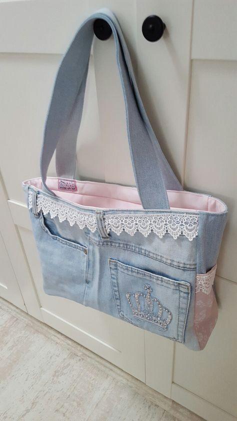 Tasche aus alter Jeans und rosa Vorhang - #alter #aus #Jeans #recuperation #rosa #Tasche #und #Vorhang #vieuxjeans