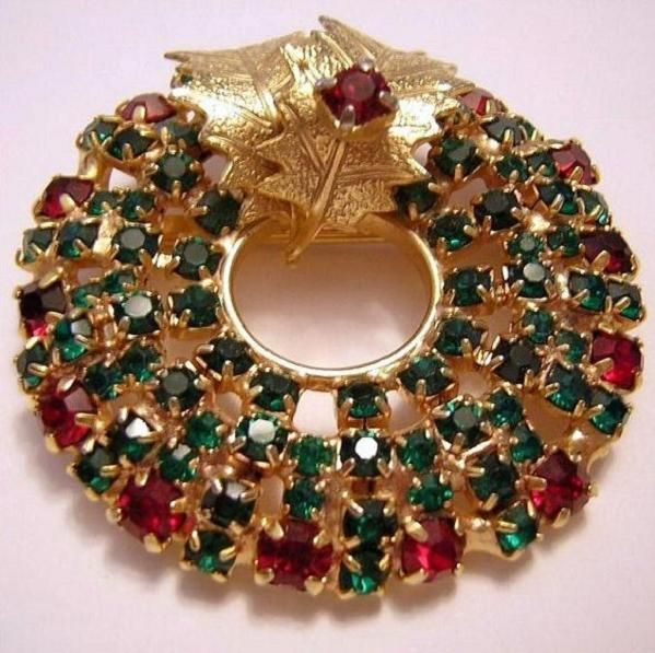 Vintage Green  Red Rhinestones Christmas Wreath Pin With Holly