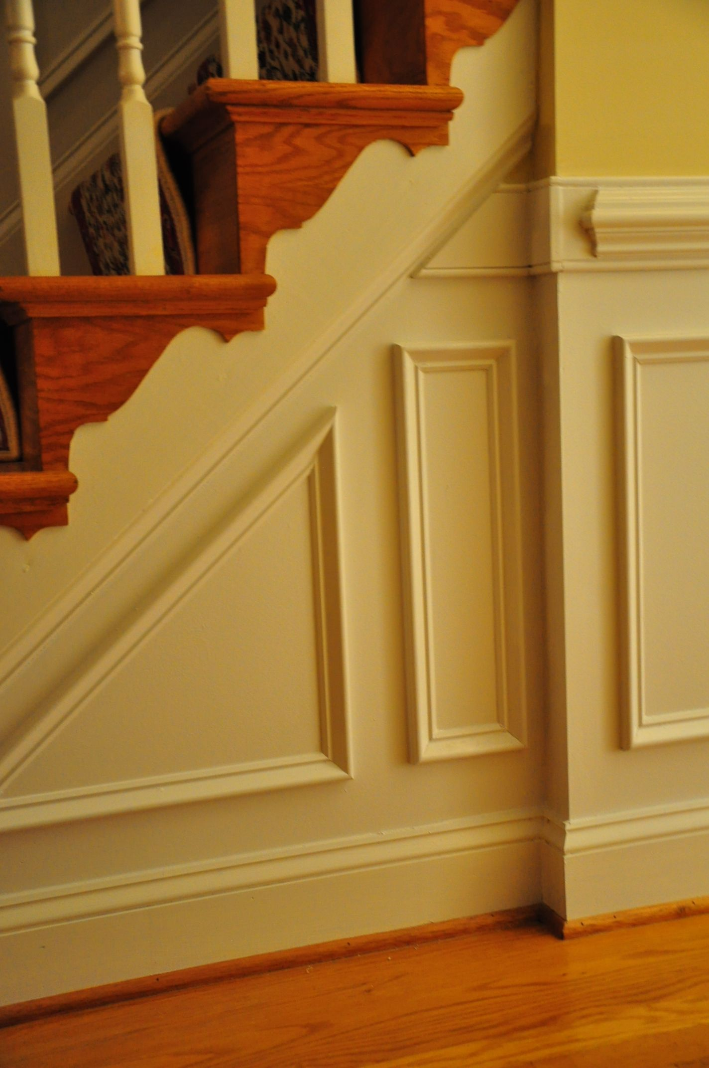 Faux Paneling Staircase Wainscoting And Chair Rails We