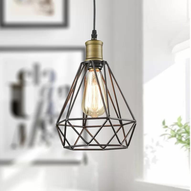 Amador 1 Light Single Geometric Pendant Plug In Pendant Light Wire Pendant Light Wire Cage Pendant Light