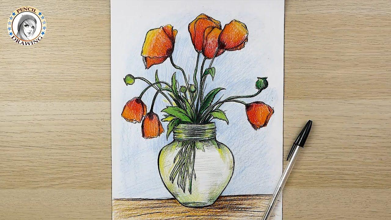 الدرس 1 تعلم رسم زهرية ورود Lesson 1 Learn Drawing Flower Vase Hand Art Home Decor Decals Art