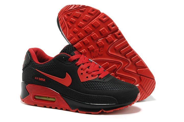 2014 Nike Air Max 90 Black White Red Shoes