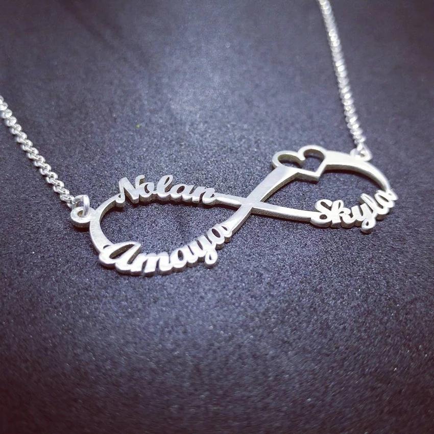 Personalized Infinity Bracelet Custom Names Jewelry Stainless Steel Love Heart