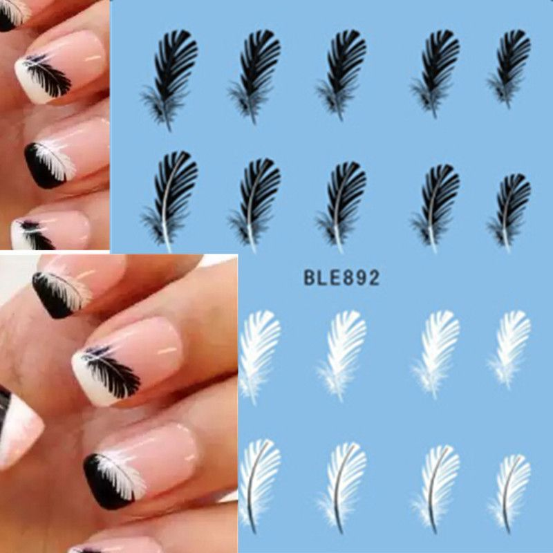 1pcs Beautiful Black White Feather Nail Art Decal Stickers Fashion ...