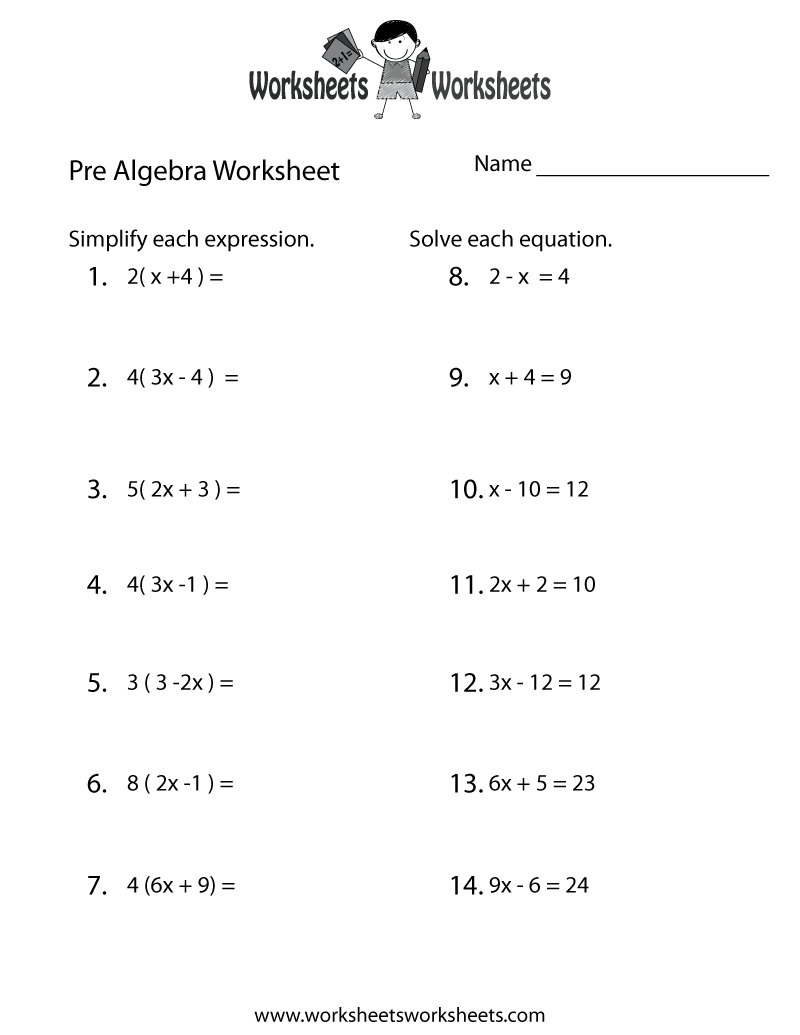 Worksheets Math Worksheets 8th Grade Pre Algebra pre algebra review worksheet free printable educational worksheet