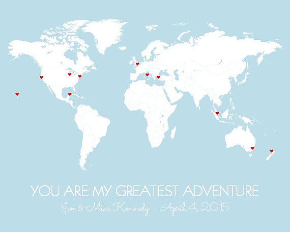 Personalized world map poster you are my greatest adventure diy personalized world map poster you are my greatest adventure diy travel map print pinsstickers wedding first anniversary gift for him gumiabroncs Images