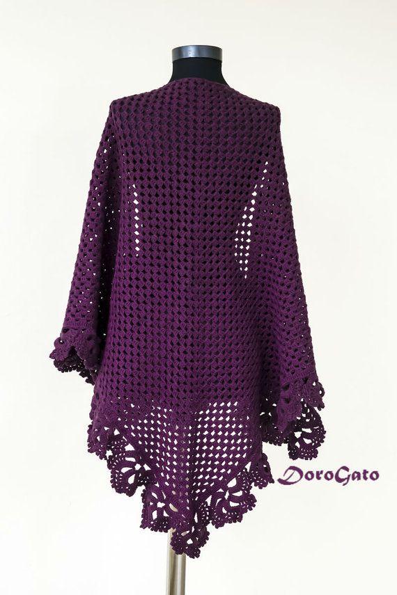 Тutorial crochet shawl pattern triangle %5.99 | Crochet Clothes ...