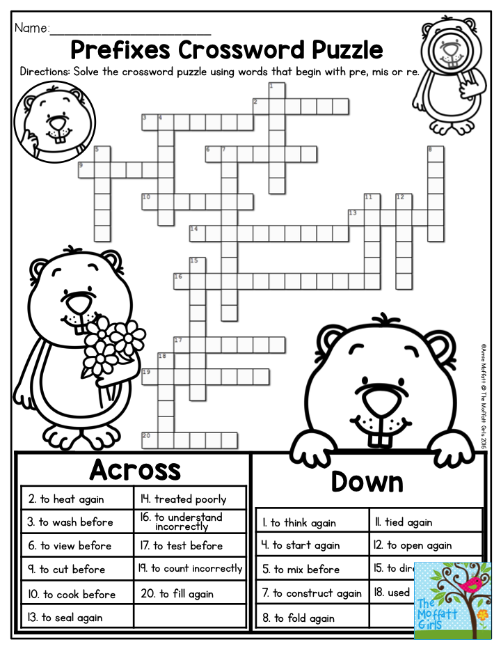 Prefixes Crossword Puzzle- TONS of printables to keep