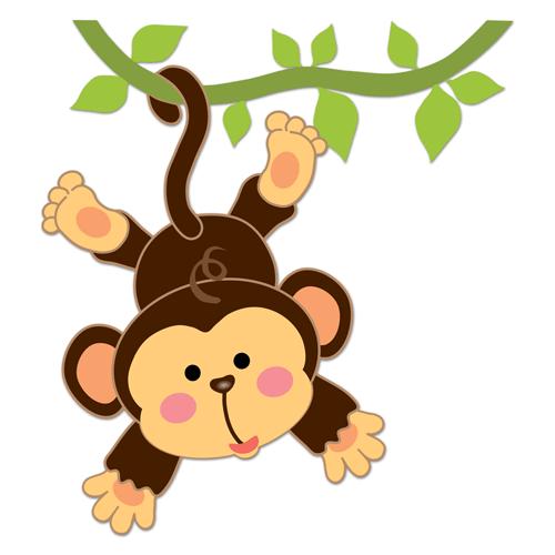 Vinilos infantiles mono colgado en la liana proyecto - Dibujo habitacion infantil ...