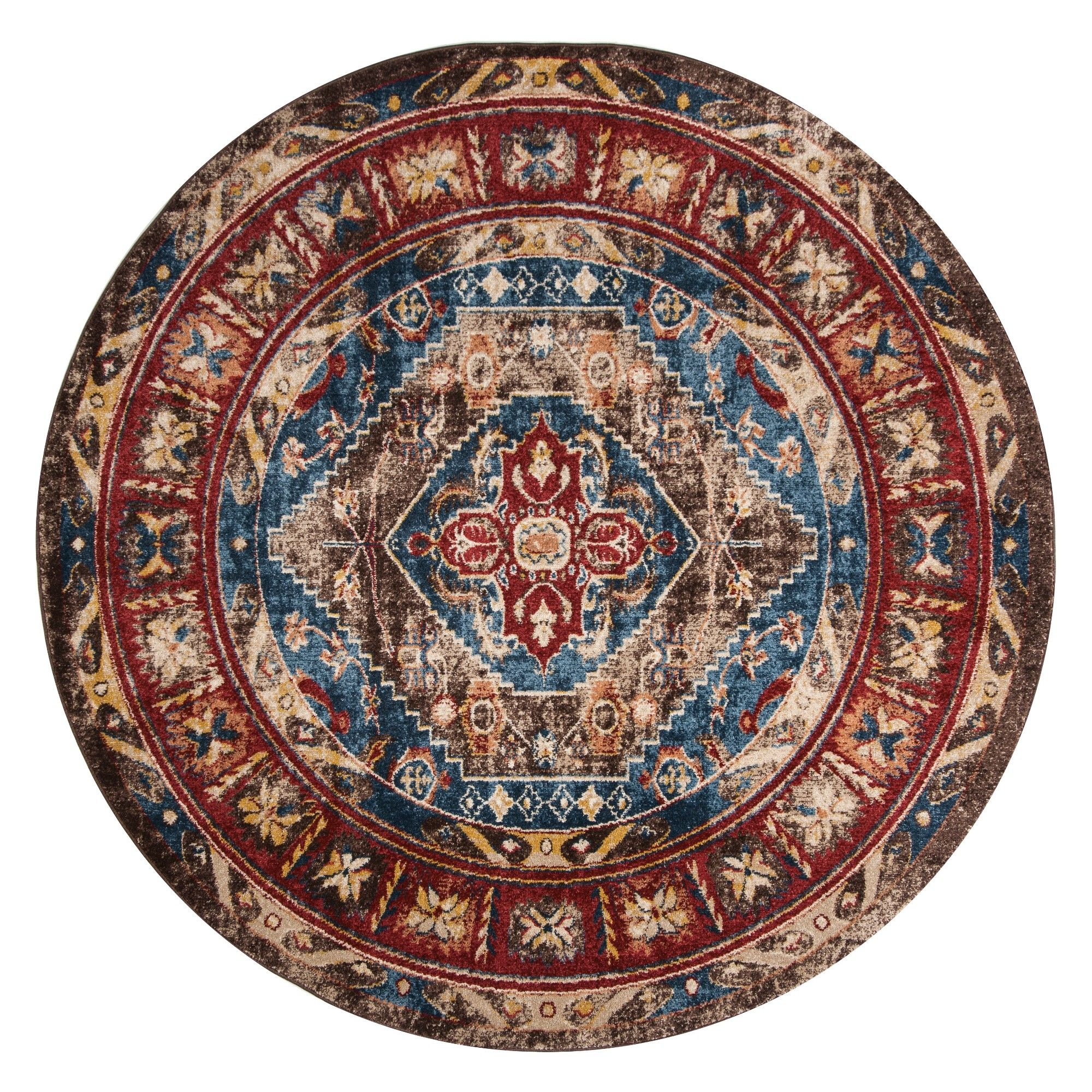 6 7 Medallion Round Area Rug Brown Royal Safavieh Adult Unisex Size 6 7 Round Brown Blue Round Area Rugs Area Rugs Persian Motifs