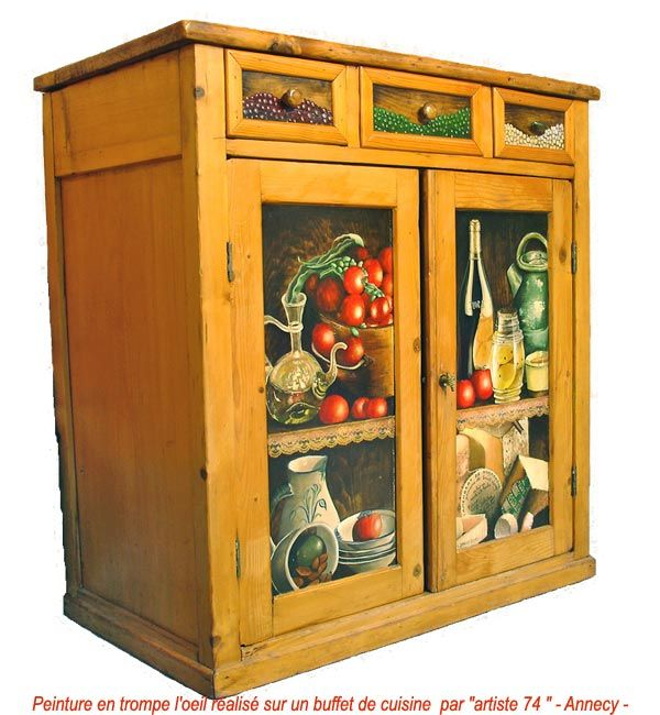 meuble-victuailles TROMPE Lu0027OEIL \ MURALS Pinterest Diy - peinture sur meuble bois