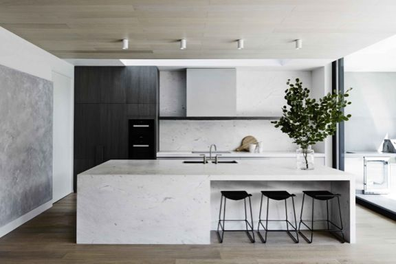 Such A Sleek Minimalist Yet Luxe Kitchen Adore That Solid Marble Island Bench And Slab Splashback
