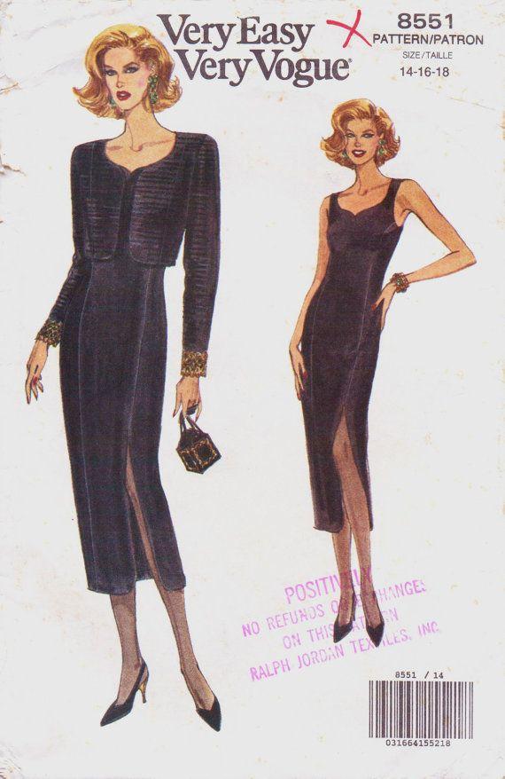 90s Very Easy Very Vogue Sewing Pattern 8551 Womens Bolero Jacket ...