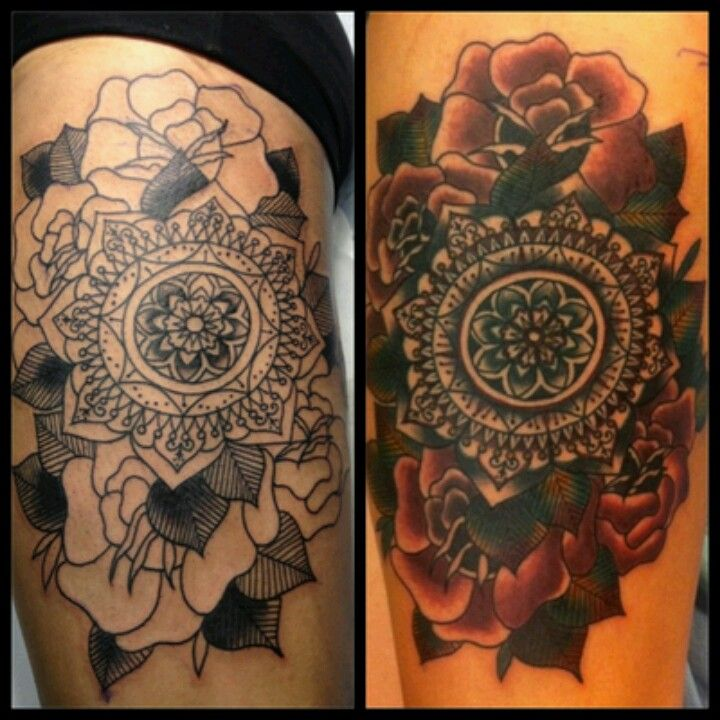 Mandala with flowers cover up tattoos tattoos