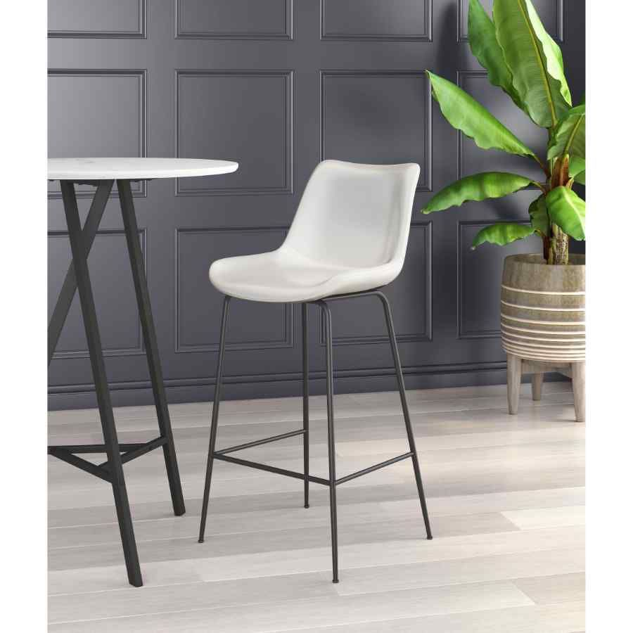 White Bar Height Pub Chair Heavy Duty Stain Resistant Powder Coated Steel Frame