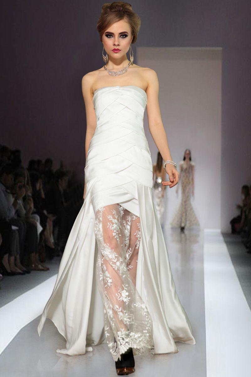 Fashion silk like satin lace ruching mermaid promevening dress on