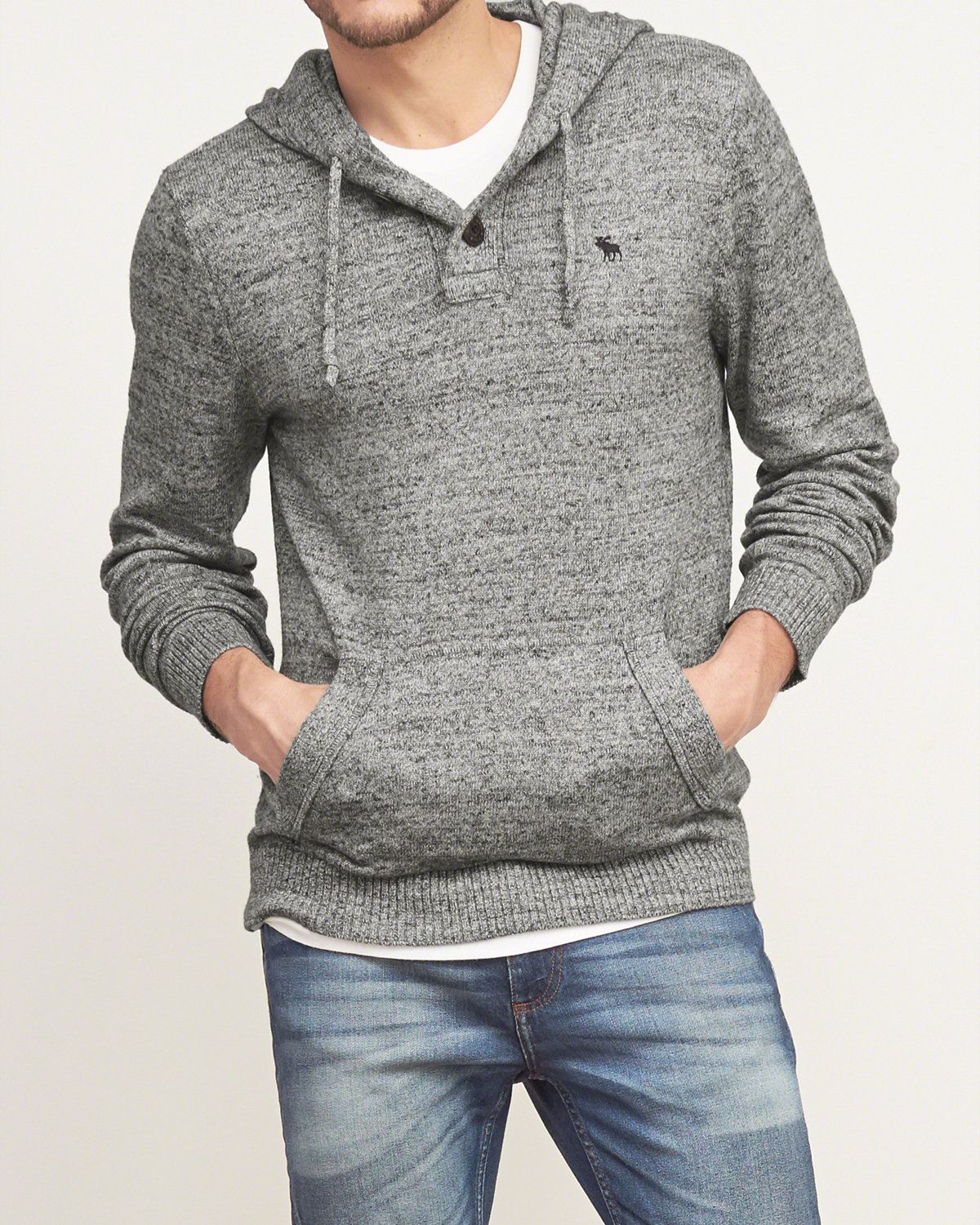 Lightweight with a drawstring hood and one-button placket, front ...