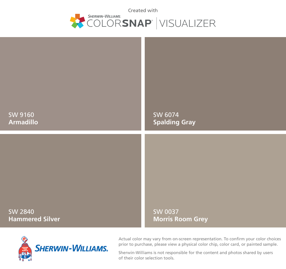 I Found These Colors With Colorsnap Visualizer For Iphone By Sherwin Williams Armadillo Sw 9160 Hammered Silver 2840 Spalding Gray 6074