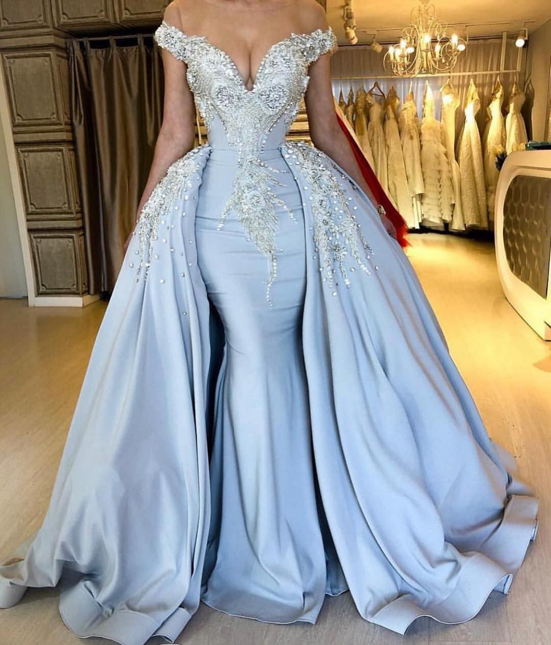 Blue Formal Dresses Ball Gowns Evening Wear And Wedding Designs Prom Dresses Long Blue Applique Wedding Dress Evening Gowns With Sleeves [ 1265 x 1080 Pixel ]
