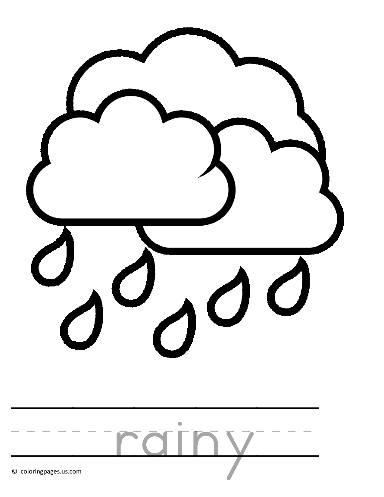 raining preschool coloring pages 01 4 Kids Coloring Very Young
