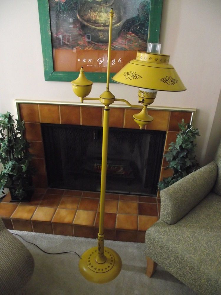 Shabby Metal Toleware Floor Lamp, Vintage Mustard and Black Tin Metal Tole Floor Lamp