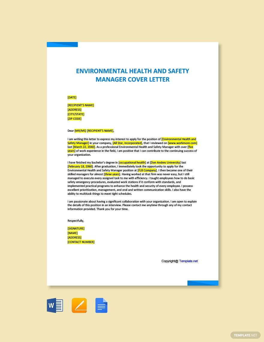 FREE Environmental Health And Safety Manager Sample Cover