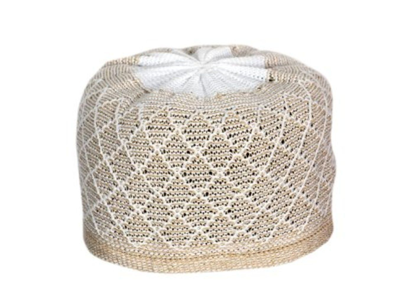 Muslim Prayer Cap Kufi Topi Soft Threads   Block Shaped (Gray   White) 5198ec6aefa1
