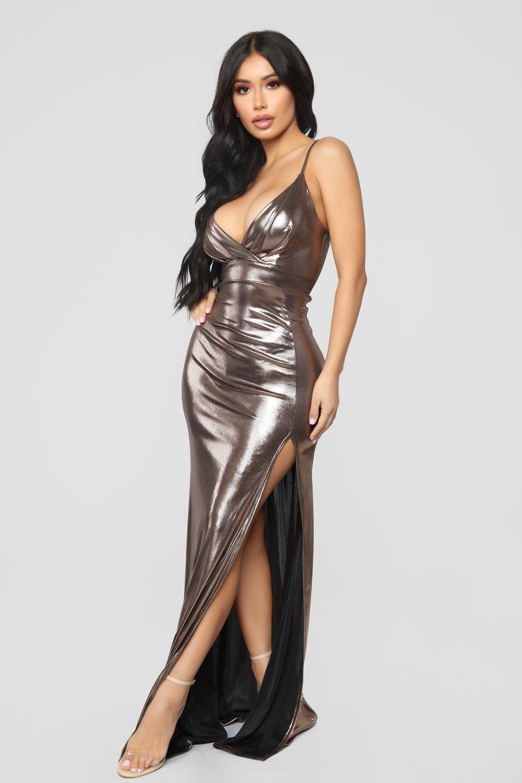 34668dda9a737 All Eyes On Me Foil Dress - Bronze in 2019 | F A S H I O N | Dresses ...