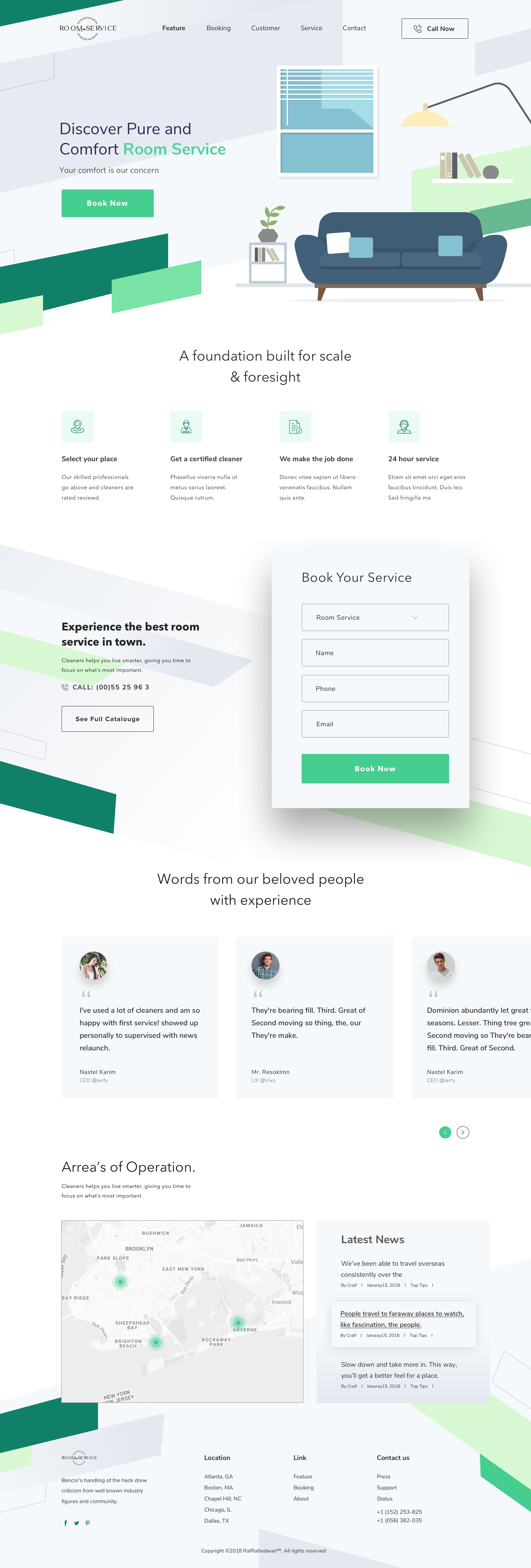 Room Service Landing Page Wordpress Website Design Web Layout Design Website Template Design