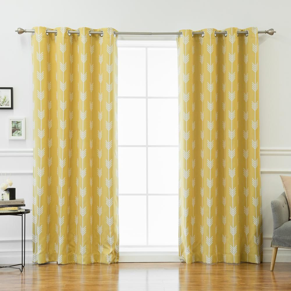 Best Home Fashion 96 In L Arrow Room Darkening Curtains In Yellow 2 Pack Yellow Panel Arrow Print Cool Curtains House Styles Room Darkening