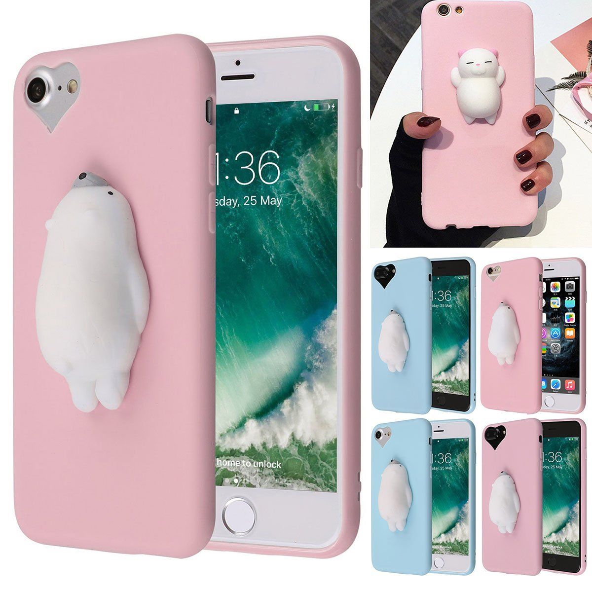 d7a007c1f1 Squishy 3D Soft Silicone Cat Kneading Phone Case Cover For Iphone 6 6S 7  Plus