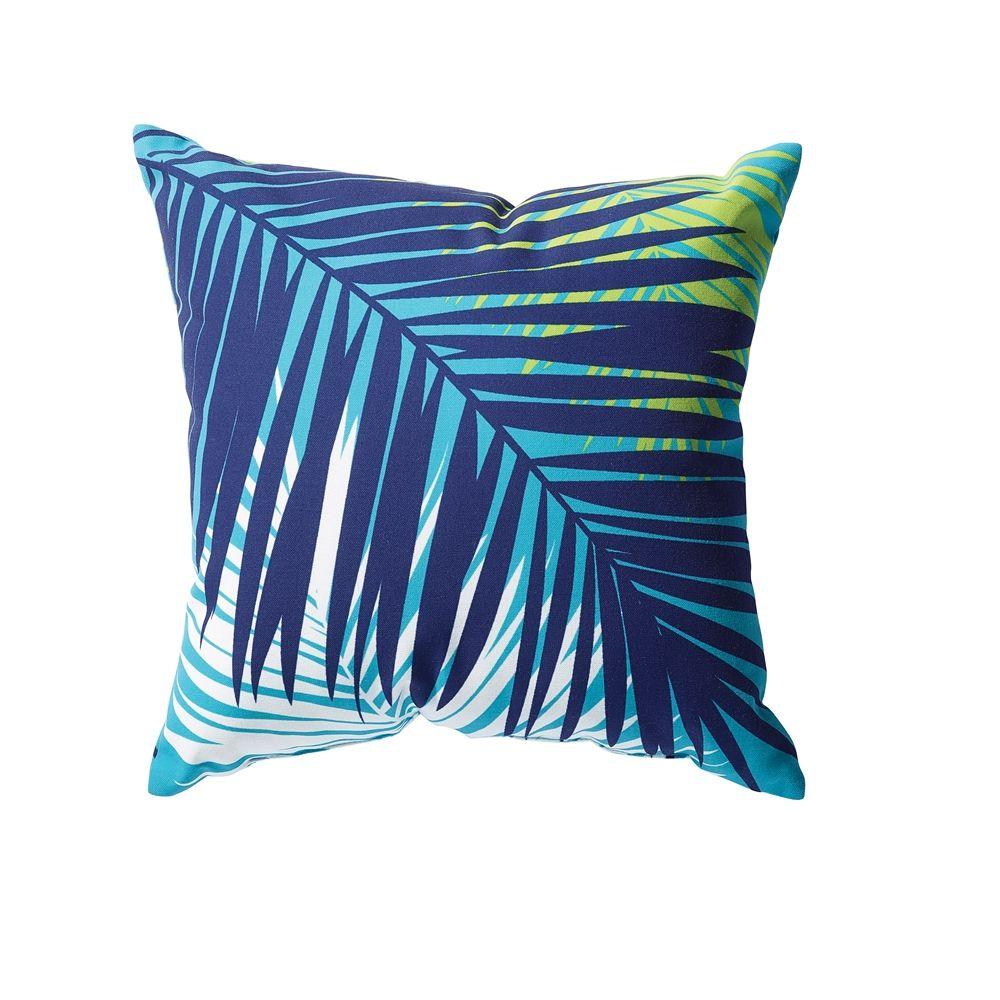Shop Garden Treasures 20 in Aqua Palm Outdoor Throw Pillow at ...