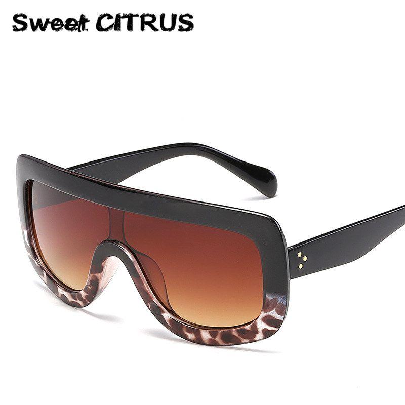 71fb5a9020e0 Sweet CITRUS Luxury Brand Oversized Sunglasses Women Big Frame Designer Sun  glasses Mirror lens Shades Gradient