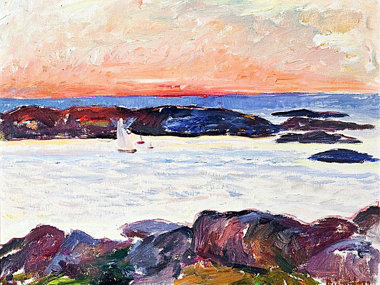 """BJÖRNBERG, EVALD (1895-1971)  """"Sunset, Klöverön, Marstrand"""""""