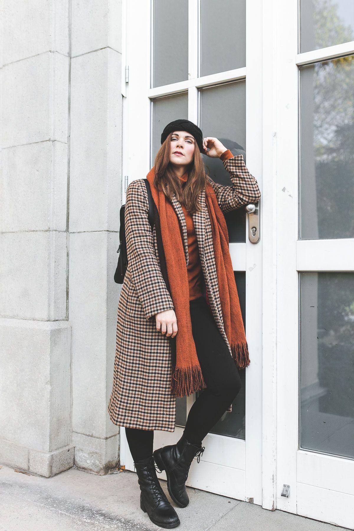 Mein Kariertem Herbstwinter Und Mit Outfit Mantel Schwarzem H9WYID2E