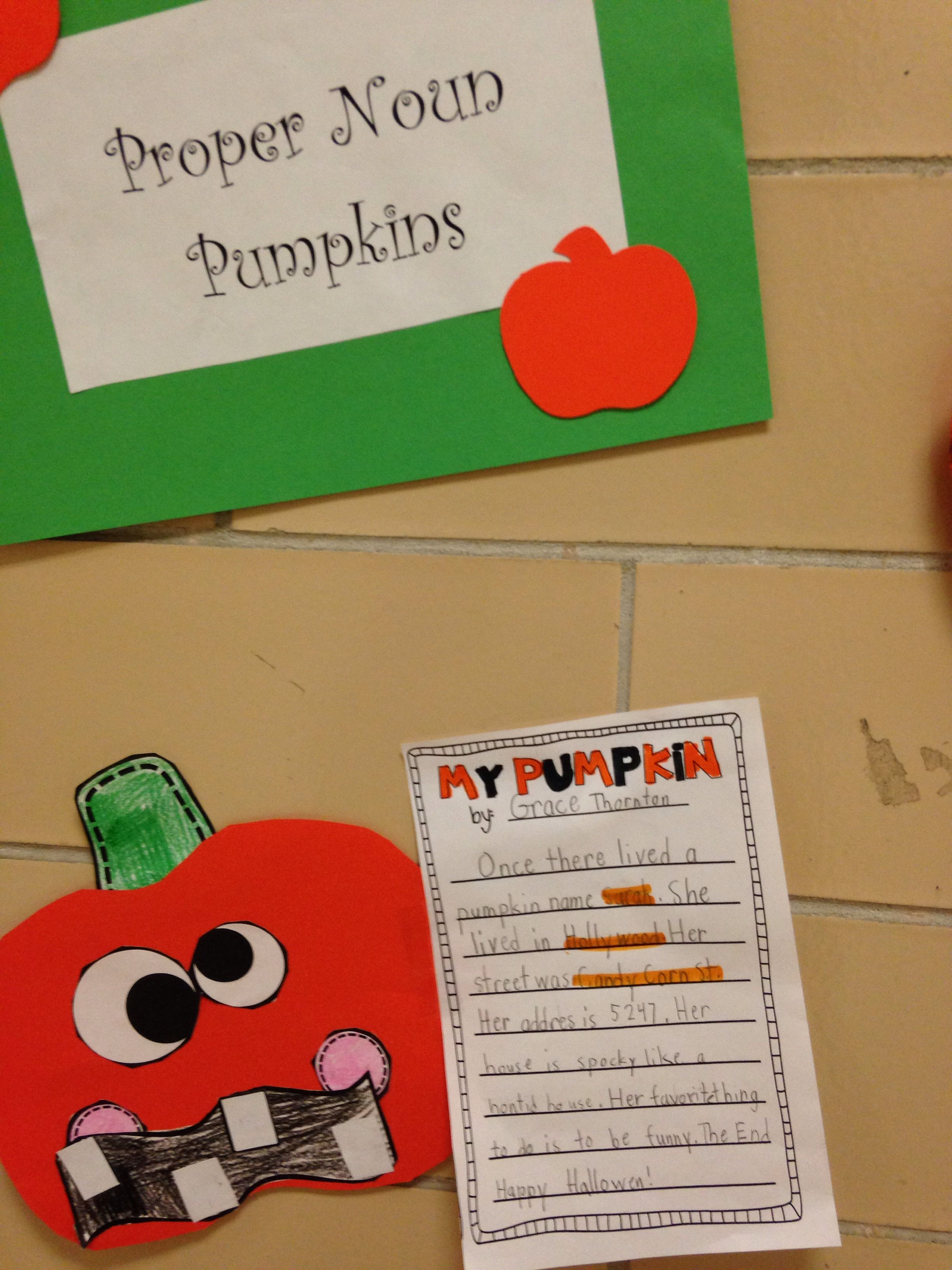 Proper Noun Pumpkin Writing Prompt