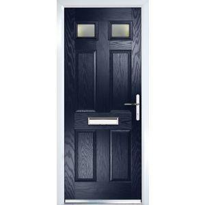 Composite 6 Panel Navy Blue Pvcu Grp Glazed External Front Door Frame Lh H 2055mm W 920mm External Front Doors Front Door Composite Front Door