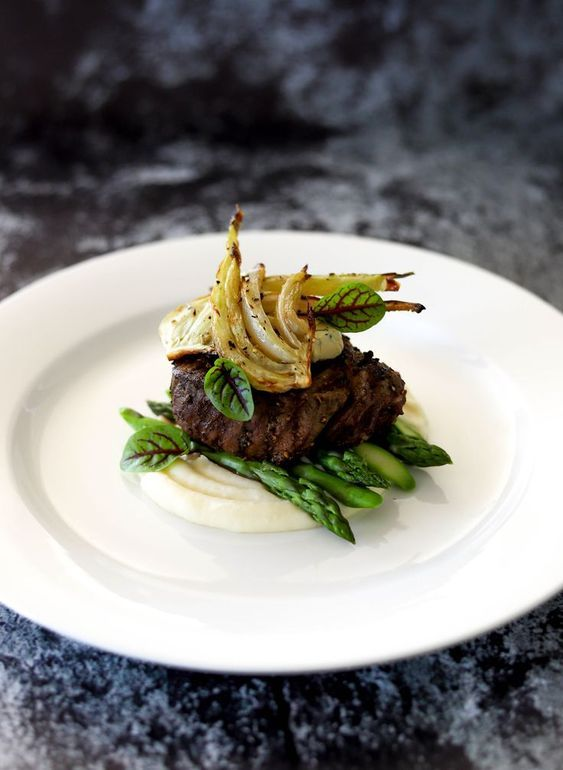 Beef Fillet, Potato Puree, Roasted Fennel, Asparagus, Smoked Garlic & Thyme Butter #fooddinners